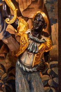 Sculpture grand Nubien en bois plychrome époque 1900