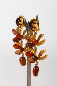 Boucles d'oreilles en verre brun et bronze