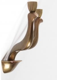 Paire d'Appliques en bronze signée Riccardo Scarpa 1960