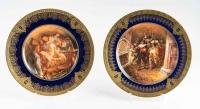 Paires d'assiettes bleues et or de Limoges. J. Balleroy and Co.
