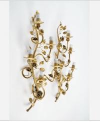 """1960 Grande Paire d'Appliques """"Rosier sauvage"""" de la Maison FlorArt"""