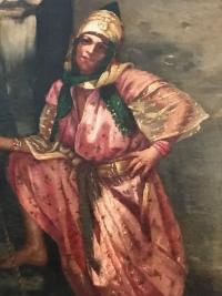 Peinture sur toile encadrée, Jeune fille au puit, signée S.Galy. Ref: 300.