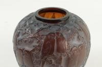 """René Lalique Vase"""" Perruches """" Teinté Ambre"""