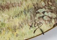 Paire d'assiettes signées P. Cros, fin XIXème