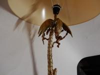 1980' Lampe En Bronze Doré Aux Singes Dans Un Palmier