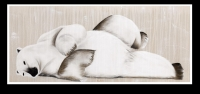 Thierry BISCH (1953). Lying bear, techniques mixtes sur toile.