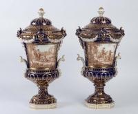 Paire de vases couverts en porcelaine 19e siècle