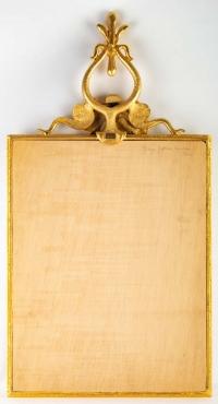 Miroir en bronze doré, signé Georges Mathias pour Fondica Paris , année 1980.