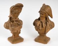 Couple d'incroyable et merveilleuse en terre cuite signées, XIXème