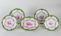 Ensemble de 5 assiettes Amours et Instruments de musique - Allemagne fin XVIIIème siècle de Furstenberg