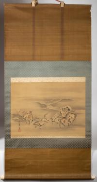 Kano Akinobu - Painting of Wild Horses by the River, Kakemono - Full Picture n.1