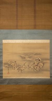 Kano Akinobu - Painting of Wild Horses by the River, Kakemono - Full Picture n.2