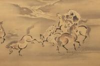 Kano Akinobu - Painting of Wild Horses by the River, Kakemono - Detail n.2