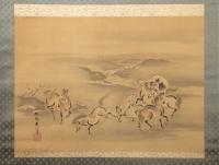Kano Akinobu - Painting of Wild Horses by the River, Kakemono