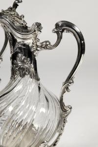 Paire d'aiguières en argent et cristal XIXe par l'orfèvre Lapar