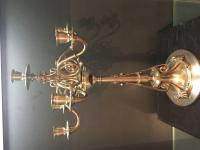Christofle Paire de candélabres en bronze argenté 7 lumières