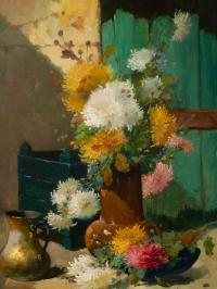 Emile Godchaux (1860 - 1938): Bouquet de chrysanthèmes.