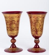 2 Vases Venise rouges et or fin 19e siècle