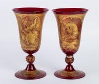 Verres de Venise rouge et or fin 19e siècle