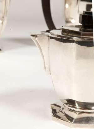 ORFEVRE: BLOCH ESCHWEGE, SERVICE THE-CAFE EN ARGENT MASSIF, ART DECO