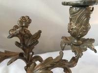 Paire de chandeliers en bronze à deux bras de lumières. Réf: 260