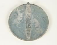 RENE LALIQUE (1860-1945) Miroir rond circulaire «Deux chèvres»