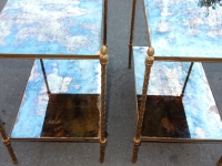 1970' Paire d  Etagéres Montants Palmiers en Bronze Doré Style Maison Charles 64 X 40 cm