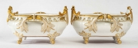Ensemble de 3 jardinières en porcelaine de Paris