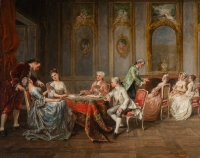 Peinture Adolphe Francois Monfallet , huile sur acajou