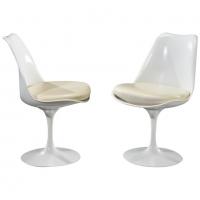 "Eero Saarinen & Knoll 2 chaises ""Tulipe"" XXth"