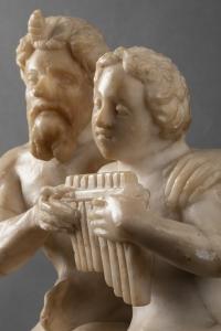 Pan et Daphnis - Groupe en albâtre du 16e siècle