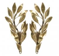 1960s Pair of Maison FlorArt Brass Foliage Sconces