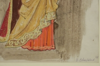 Drawing and watercolor, Russian theater character, Russian art, early 20th century.