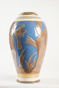 Grand vase en porcelaine de Sèvres à décor africaniste - céramique art déco