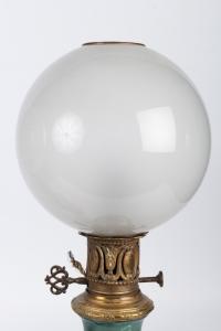 Paire de lampes vertes et fuchsia Napoléon III
