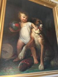 """Peinture """"L'enfant et son chien"""", peinture anglaise. Réf: 309"""