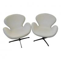 """Arne Jacobsen, paire de fauteuils """"swan"""", cuir, XXth"""