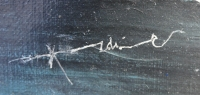 ALDINE Peinture contemporaine XXème siècle Bateau sur fond bleu Huile sur toile signée