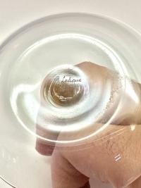 """Cendrier Baguier """"Clos Sainte-Odile"""" verre blanc patiné sépia de René LALIQUE"""