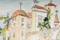 Aquarelle sur papier de Luez,  forteresse et paysage, 2002