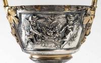 Paire de Cassolettes, Epoque Napoléon III, bronze argenté et doré